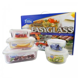 Easylock glass food container 5-unit set   GS055